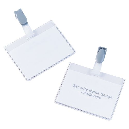 Business Name Badges Security Landscape with Plastic Clip 60x90mm [Pack 25]