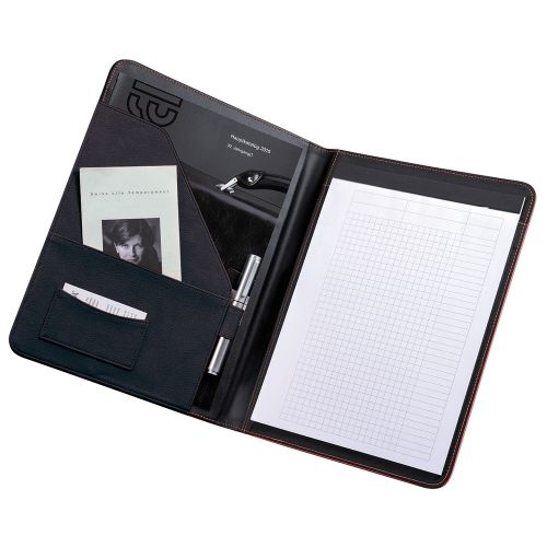 Business Conference Folder Folio Leather Look Writing Case A4 Black