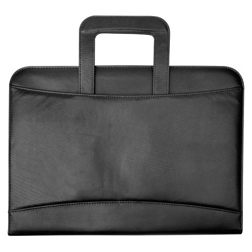 Business Zipped Conference Ring Binder with Handles Capacity 60mm A4 Leather Look Black
