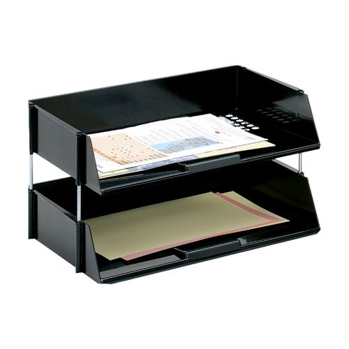 Business Letter Tray Wide Entry High-impact Polystyrene Stackable Black