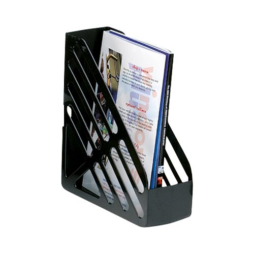 Business Magazine Rack File Foolscap Black
