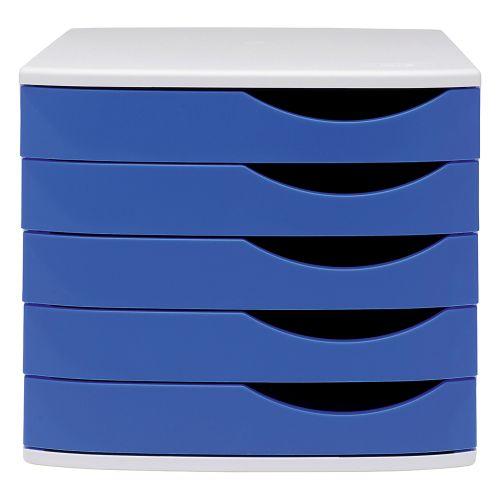 Business Premium Desktop Drawer Set 5 Drawers A4 and Foolscap Grey/Blue