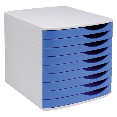 Business Premium Desktop Drawer Set 9 Drawers A4 and Foolscap Grey/Blue