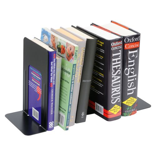 Business Bookends Metal Heavy Duty 180mm Black [Pack 2]