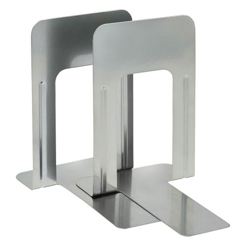 Business Large Bookends Metal Silver [Pack 2]