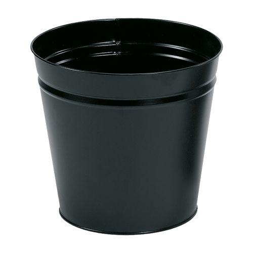 Business Waste Bin Round Metal Scratch Resistant D300xH280mm 15 Litres Black