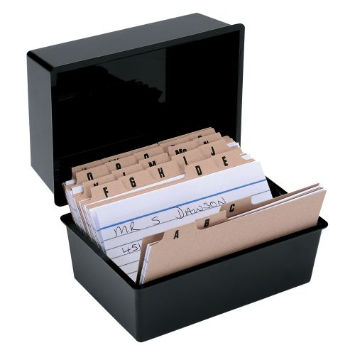 Business Card Index Box Capacity 250 Cards 6x4in 152x102mm Black