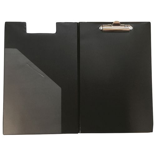 Business Clipboard Fold Over Executive PVC Finish with Pocket Foolscap Black