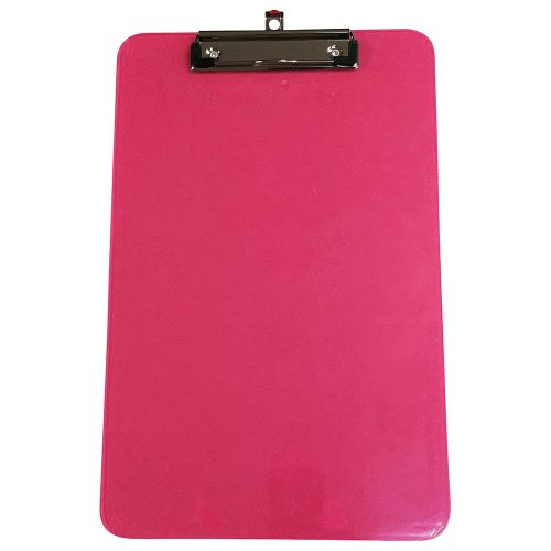 Business Clipboard Polypropylene Shatterproof Pink or Green or Turquoise