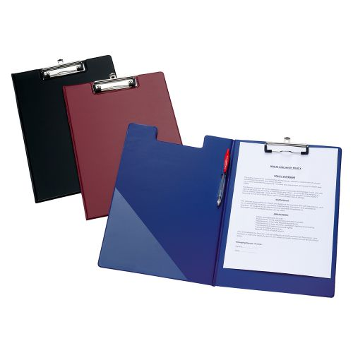 Business Fold-over Clipboard with Front Pocket Foolscap Black