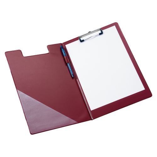 Business Fold-over Clipboard with Front Pocket Foolscap Red