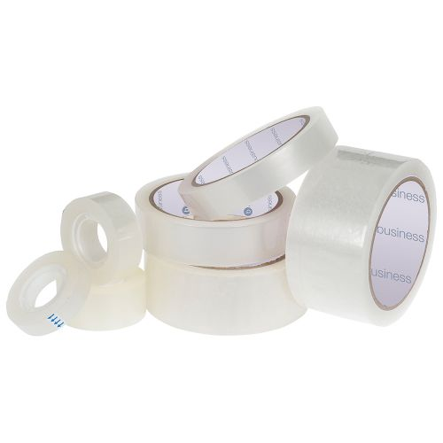 Business Clear Tape Roll Large Easy-tear Polypropylene 40 Microns 19mm x 66m [Pack 8]