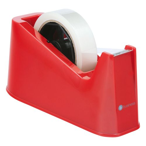 Business Tape Dispenser Desktop Weighted Non-slip Roll Capacity 25mm Width 66m Length Red
