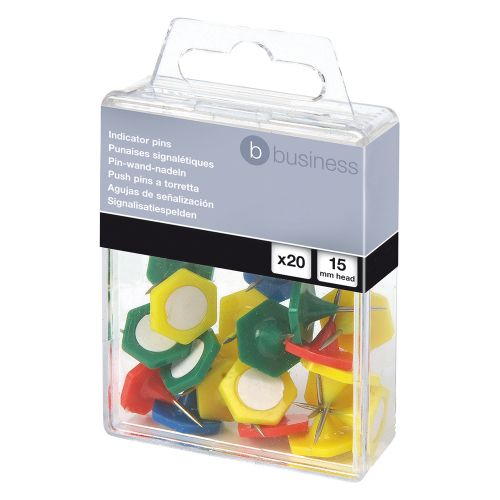 Business Indicator Pins 15mm Head Assorted [Pack 20]