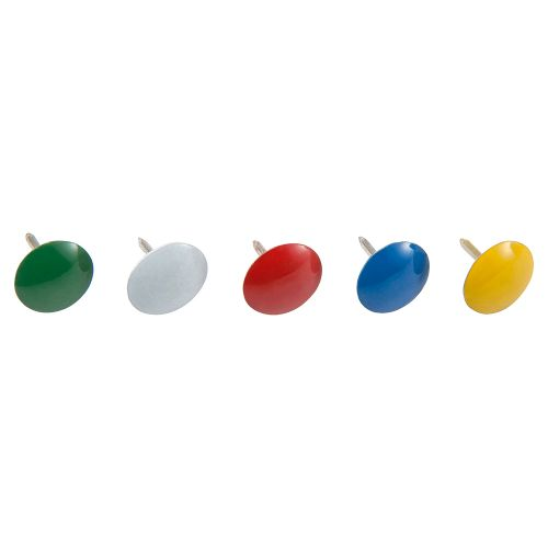 Business Drawing Pins Coloured Head Assorted [Box 100]