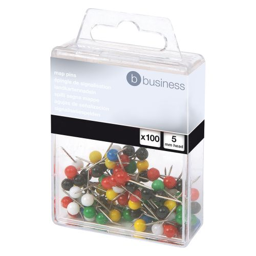 Business Map Pins 5mm Head Assorted [Pack 100]