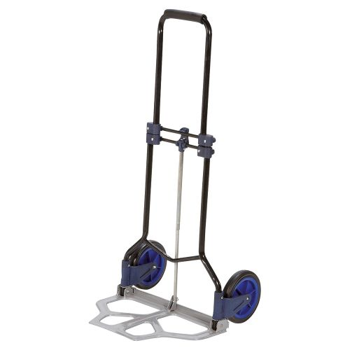 Business Hand Trolley Folding Capacity 70kg Foot Size W480xL470mm Black and Blue