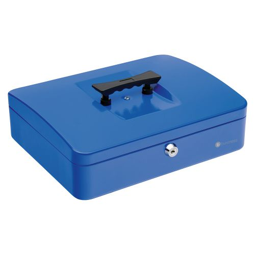 Business Cash Box with 5-compartment Tray Steel Spring Lock 12 Inch W300xD240xH70mm Blue
