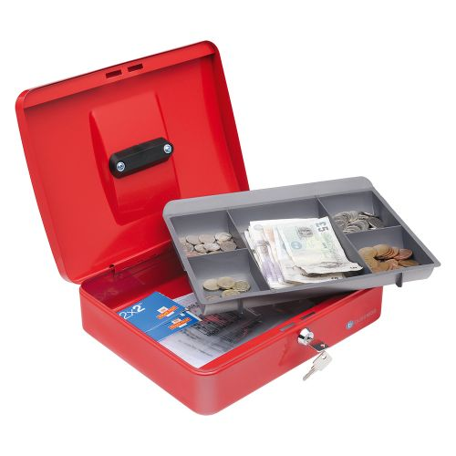 Business Cash Box with 5-compartment Tray Steel Spring Lock 12 Inch W300xD240xH70mm Red