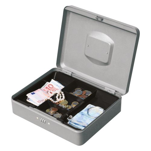 Business Premium Cash Box with Coin Tray Metal Combination Lock W300xD240xH90mm Anthracite