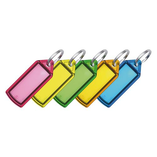 Business Key Hanger Sliding with Fob Label Area 25x20mm Small Tag 45x28mm Assorted [Pack 100]