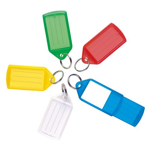 Business Sliding Key Fob Coloured Label Holder Medium 20mm Ring Assorted Colours [Pack 10]