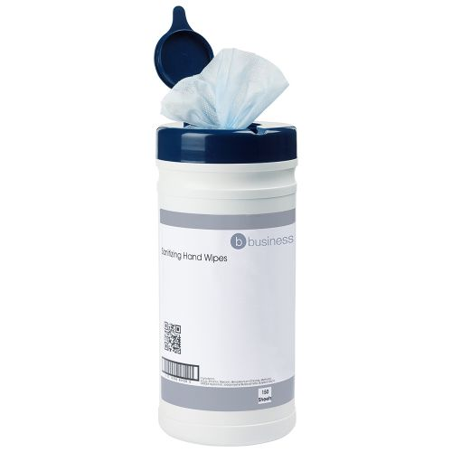 Business Hand Wipes Sanitising Disinfectant Food-safe 24gsm 20x23cm [Tub 150 Sheets]