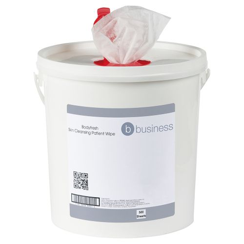 Business Bodyfresh Skin Cleansing Patient Wipe Fragranced 20gsm 20x20cm [Bucket 500 Sheets]