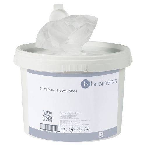 Business Graffiti Removing Wet Wipes Alcohol-based Cleaner 28gsm 28x28cm [Tub 150 Sheets]