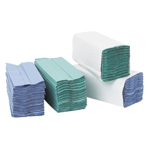 Business Hand Towel C-Fold One-ply Recycled Size 230x310mm 144 Towels Per Sleeve Blue [Pack 20]