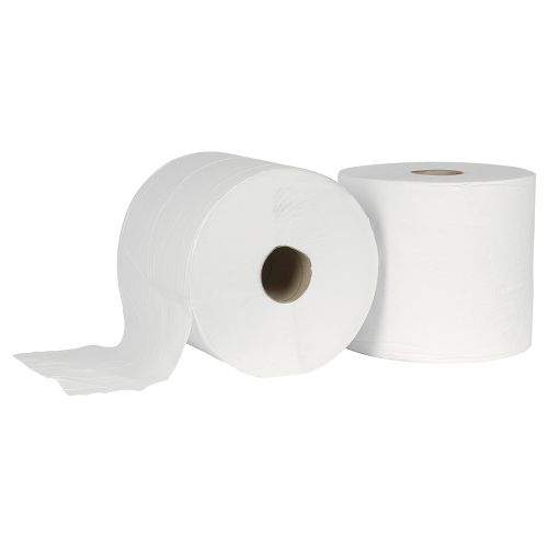 Business Giant Wiper Roll 2-ply Perforated Sheet 370x370mm 40gsm 1000 Sheets White [Pack 2]