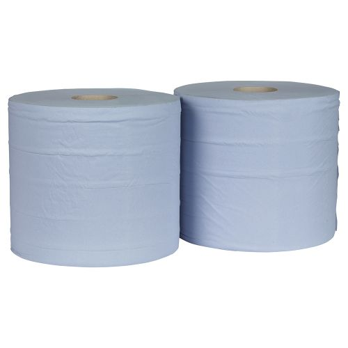 Business Giant Wiper Roll 2-ply Perforated Sheet 370x370mm 40gsm1000 Sheets Blue [Pack 2]