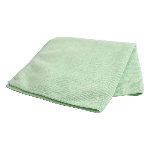 Business Microfibre Cleaning Cloths Colour-coded for Dry or Damp Multisurface Use Green [Pack 6]