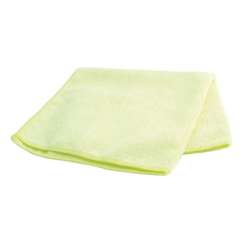 Business Microfibre Cleaning Cloths Colour-coded Dry or Damp Multisurface Yellow [Pack 6]