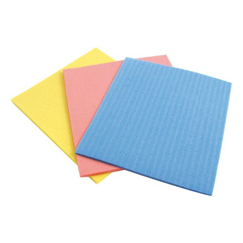 Business Sponge Cloths Cellulose W180xL180mm Assorted [Pack 18]