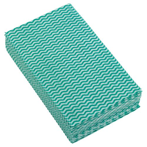 Business Cleaning Cloths Anti-microbial 40gsm W500xL300mm Wavy Line Green [Pack 50]