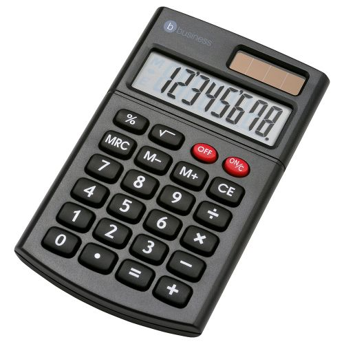 Business Calculator Handheld 8 Digit 3 Key Memory Dual-powered by Solar and Battery