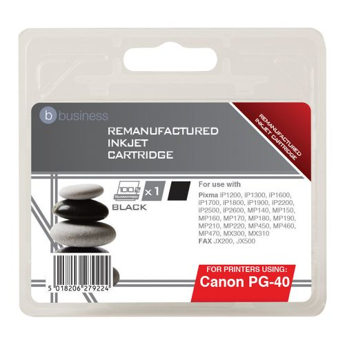 Business Remanufactured Fax Inkjet Cartridge Page Life 490pp Black [Canon PG-40 Alternative]