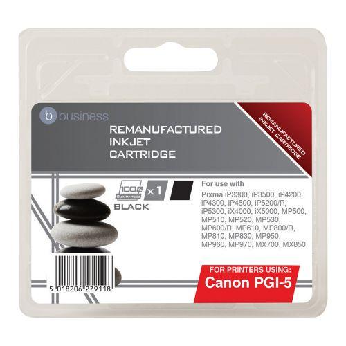 Business Remanufactured Inkjet Cartridge Page Life 520pp Black [Canon PGI-5BK Alternative]