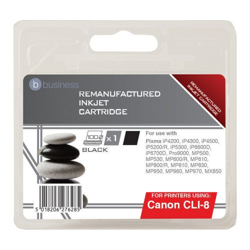 Business Remanufactured Inkjet Cartridge Page Life 5475pp Black [Canon CLI-8BK Alternative]