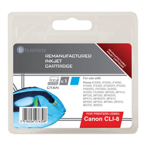 Business Remanufactured Inkjet Cartridge Page Life 935pp Cyan [Canon CLI-8C Alternative]
