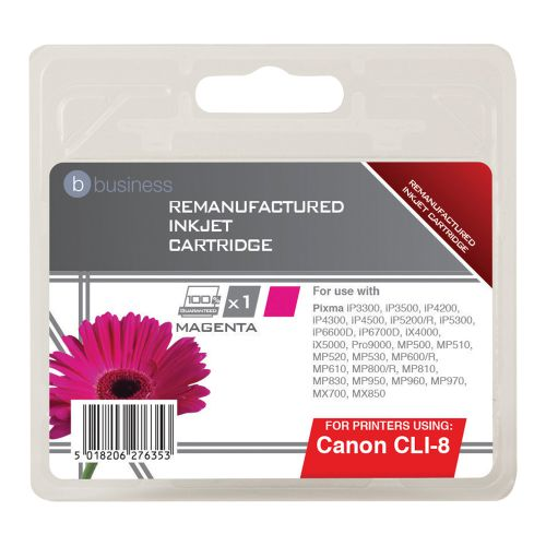 Business Remanufactured Inkjet Cartridge Page Life 715pp Magenta [Canon CLI-8M Alternative]