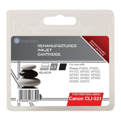Business Remanufactured Inkjet Cartridge Page Life 425pp Black [Canon CLI-521BK Alternative]