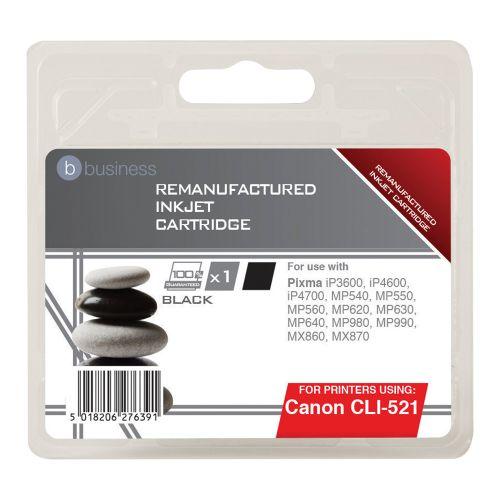 Business Remanufactured Inkjet Cartridge Page Life 425pp Black [Canon CLI-521BK Alternative]