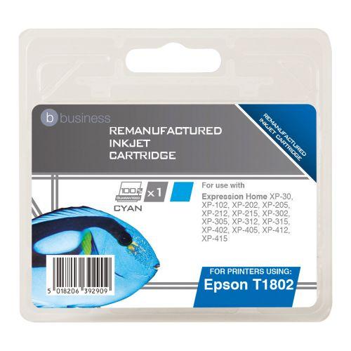 Business Remanufactured Inkjet Cartridge Capacity 3.3ml Cyan [Epson C13T18024010 Alternative]