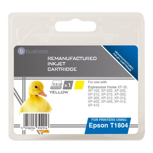 Business Remanufactured Inkjet Cartridge Capacity 3.3ml Yellow [Epson C13T18044010 Alternative]