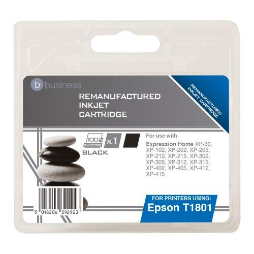 Business Remanufactured Inkjet Cartridge Capacity 5.2ml Black [Epson C13T18014010 Alternative]