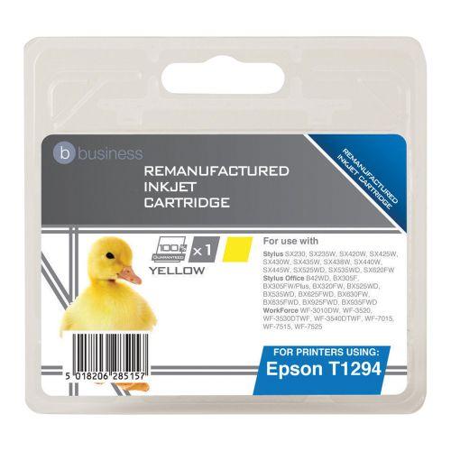 Business Remanufactured Inkjet Cartridge Capacity 7ml Yellow [Epson T12944011 Alternative]