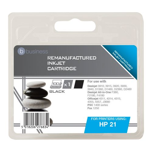 Business Remanufactured Inkjet Cartridge Page Life 300pp Black [HP No. 21 C9351A Alternative]
