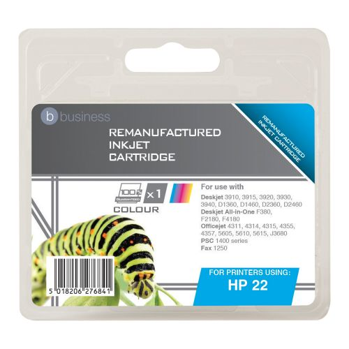 Business Remanufactured Inkjet Cartridge Page Life 280pp Colour [HP No. 22 C9352A Alternative]